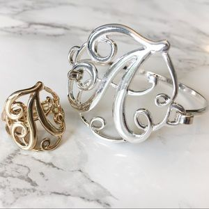 Jewelry - 3 FOR $15!!! Little A Monogram Ring & Bracelet Set